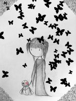 A girl, a doll and butterflies by Ematera