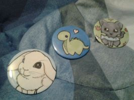 Bunny Dino Kitty Pinback buttons by CynicalSniper