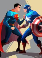 Superman VS Captain America by Mushstone