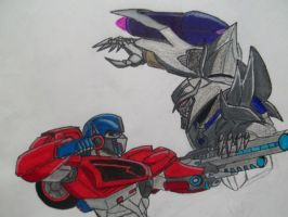 Transformers Prime Optimus vs Megatron by reclaimerart