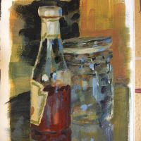 Still life gouache sketch by yakonusuke