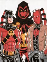 Red Robin, Azrael and Red Hood by calslayton