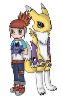 walk all over him, renamon! by flowertigers
