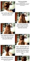 Triple Pony Tail Updo Tutorial by Ginger-Biscuit-Stock