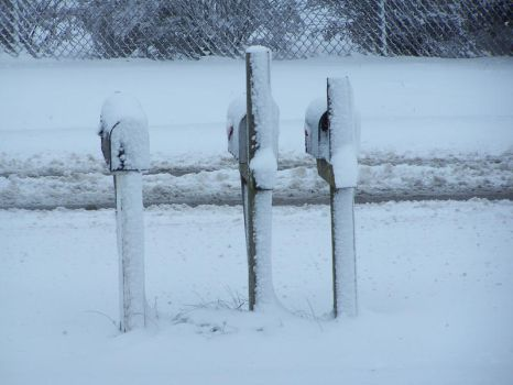 Snow Covered Mailboxes by HK-Stock