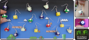 Super Mario earrings by Nko-ennekappao