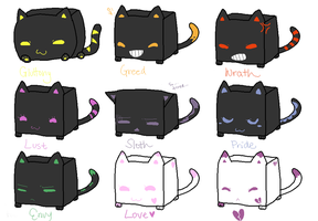 CubeCats: 7 Deadly Sins + 2 SOLD by Sanza-tan