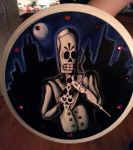 Grim Fandango painted clock by desertpenguin