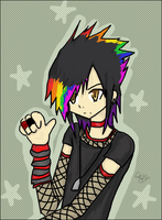 lolz rainbow haired emo kid by TeamRocket
