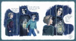 Tonks facing Snape by roby-boh