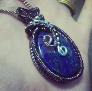 Wire Wrapped Lapis Lazuli Pendant by RedVelvetsCrafts