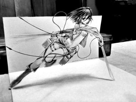 Mikasa Ackerman - 3D Drawing by Ankredible