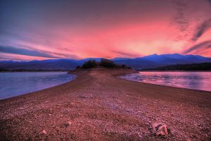 Pink skies over blue mountains by Kounelli1