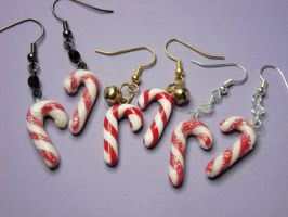 Candy Cane Earrings by solid-paradox