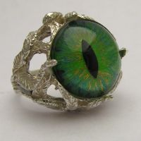 Claw Dragon Eye 3D Hand Painted Sterling Ring by JandSGems