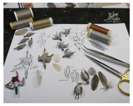 W.I.P. Miniature Game Bird sculptures by Pajutee