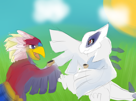 Cup of tea with Braviary and Lugia by Windaura