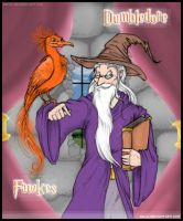 Dumbledore and fawkes by ailil