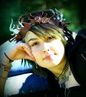 Sculpted Leather Crown With Antlers And Feathers by Beadmask