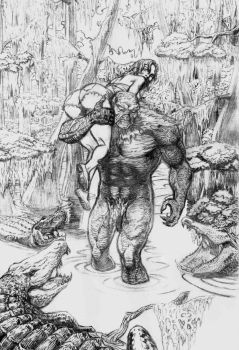 Swamp Thing and Abby (pencils) by dondalier