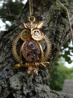 Steampunk owl necklace by Hiddendemon-666