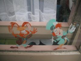 March Hare and Mad Hatter window painting by brdlva