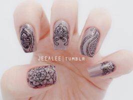 Paisley Nails by jeealee
