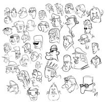 Faces characters doodles by abhijeetart