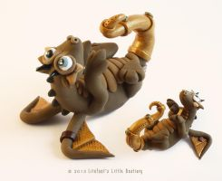 Brown Steampunk Dragon by LitefootsLilBestiary