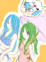 beachtime- Lucia and Elincia by PirateYukipwnsyou