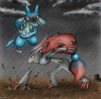 Zoroark VS Lucario by KairouZ