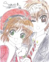 Sakura and Syaoran1 by 6wendybird91