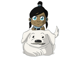 Chibi Korra with Naga by GKC07NF