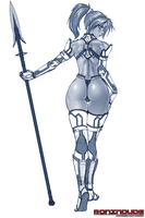 Armored Ninja Girl with Spear - Sketch by RoninDude