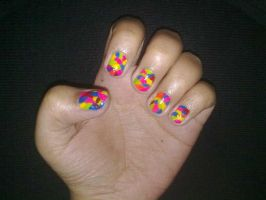 Multicolor abstract nailart by Mixartlove
