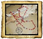 Rosary Red Day of the Dead Skull Pentacle by grimdeva