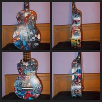 Superman Batman Spiderman Decoupage Ukulele! by Fazer27