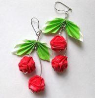 Origami Cherry Earrings by pandacub143