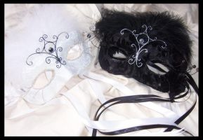 Yin and Yang Masks by PurrpleCatt