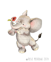 Little Elephant with poppy by Shalladdrin