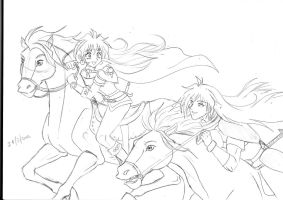 Gourry and Lina horse race (draft) by shishiyoukai