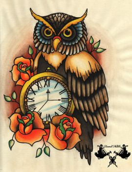 tattoo-flash owl and pocket watch by Tausend-Nadeln
