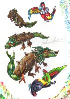 Fakemon Color Roughs 139-143 by TheCreationist