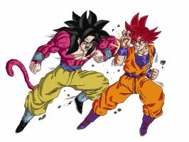 Super Saiyan 4 vs Super Saiyan God V.2 by delvallejoel