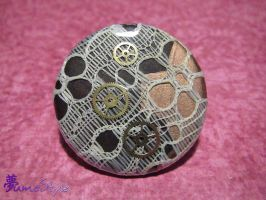 Gears and Lace Steampunk Button by Sarinilli