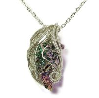 Woven Bismuth Crystal Necklace in Silver - BSMTH61 by HeatherJordanJewelry
