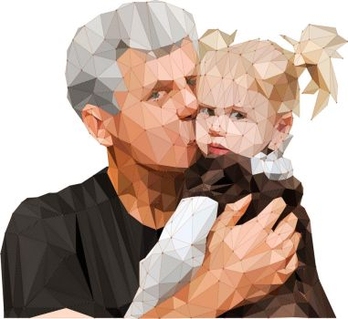 Low Poly Grandpa/Grand daughter low poly by 3RDigraphics