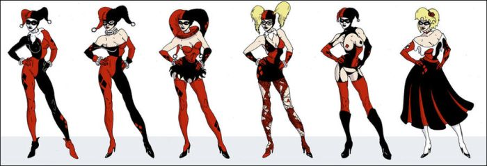 Harley Quinn Outfits by davethecat