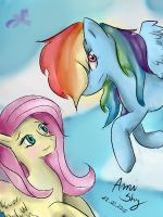 Fluttershy and Dashie by AmiShy16