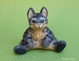Chubbie Sitting Cat Sculpture by SculptedPups